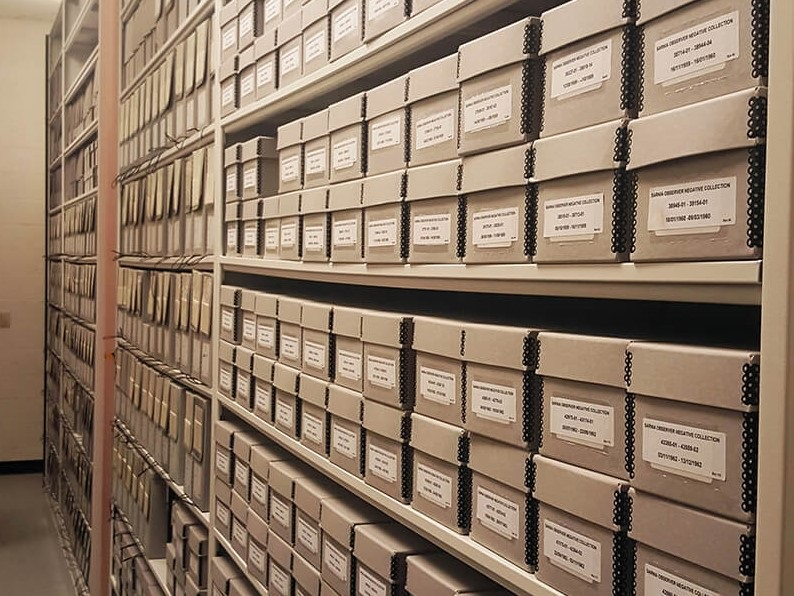 LIBRARY SHELVING SHOWCASES FOR BERTRAND RUSSELL ARCHIVES STORAGE
